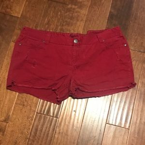 Red Deconstructed Jean Shorts